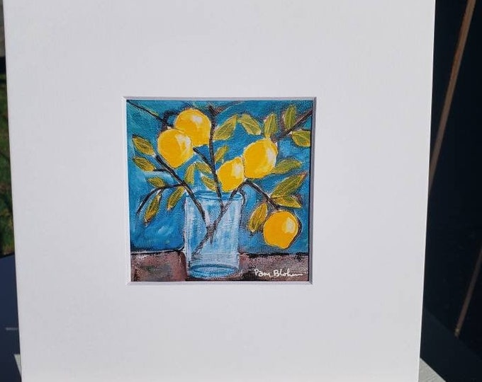 "Artist PRINT ""Lemon Branch "" from Pam Blohm original painting /4x4 print is white matted to 8x8/ Kitchen decor / Lemon artwork / Wall art"