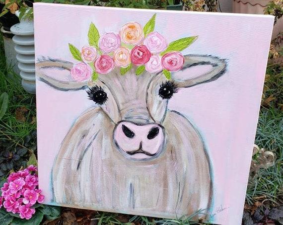 """Whimsical Cow  Art """"Miss Molly Moo-Moo"""" / Original acrylic painting / 20x20 Large Art canvas /farmhouse Wall art/Nursery Decor"""