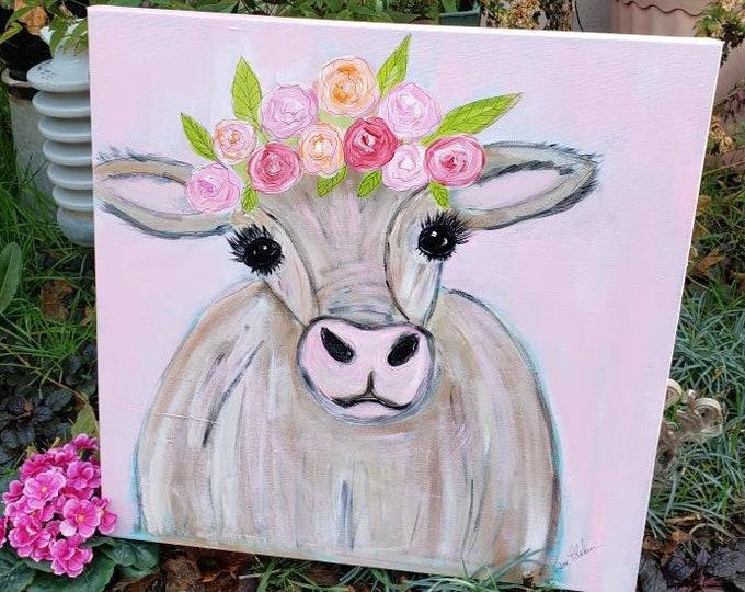 "Whimsical Cow  Art ""Miss Molly Moo-Moo""  Original acrylic painting - 20x20 Large Art canvas - PINK farmhouse Wall art- Nursery Decor"