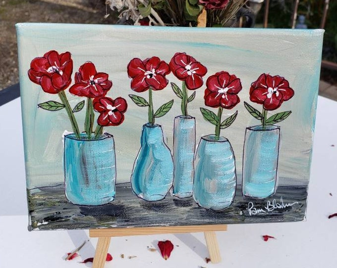 """Original acrylic painting """"Standing Tall"""" Flowers in vases home decor - 5x7 Floral artwork"""