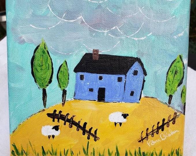 """Original Acrylic Painting """" Blue House on the Hill """" -6x6 Farmhouse artwork- Farm Sheep - Farm theme Nursery Decor"""