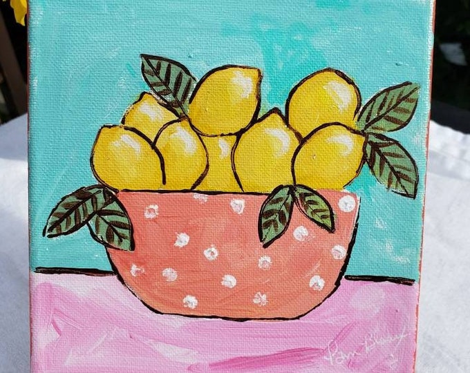 """Original Acrylic Painting """"Tropical Lemons """" - 6x6  Kitchen Decor-  Small art on Stretched canvas"""