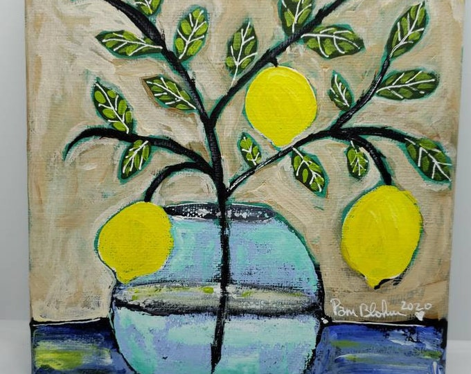 "Lemon Branch Wall Art  ""Just Hangin Out"" - 6x6 Small art Kitchen Decor - Original Acrylic Painting -Small Art Lemons"