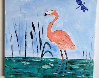 "Original Art   "" Flirting  Flamingo "" / 12x12 Acrylic Painting /  Wall Art / Bathroom Decor /Nursery artwork/ Bird art home decor"