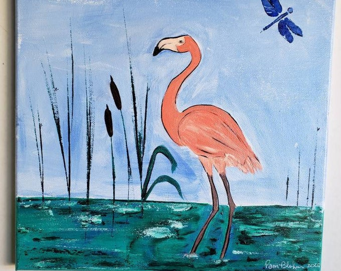 "Original Art  "" Flirting  Flamingo "" -12x12 Acrylic Painting -  Wall Art -Bathroom Decor -Nursery artwork - Bird art home decor"