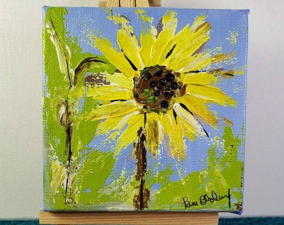 Sunflower original Small Art Painting /4x4 tiered Tray Decor/ Flower Art