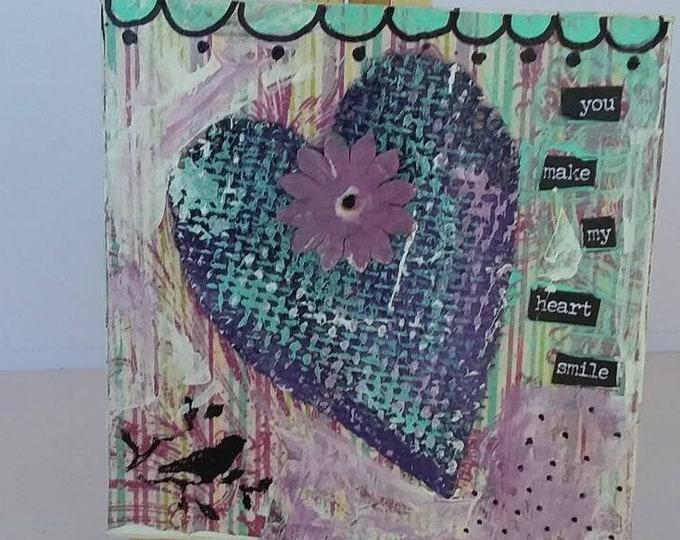 "Orignal "" You make my Heart Smile"" / Mixed Medium heart art /home or office decor/gift idea/ anniversary gift/Friend gift/Valentine"