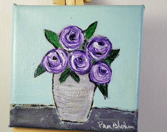 Purple Flowers Original Acrylic Painting/4x4 small art /tiered tray decor/gift idea includes display easel