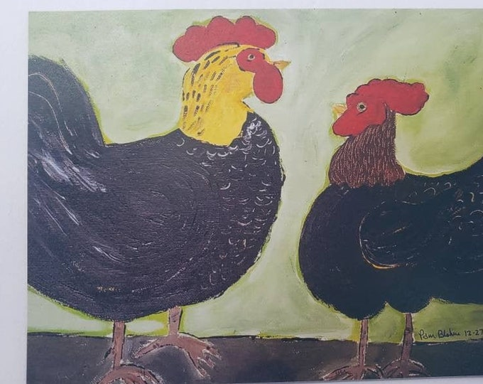 """Artist MAGNET """"Barnyard Chickens"""" -3.25x4.50 inch kitchen decor -magnet collector gift idea - office small art -made in USA"""