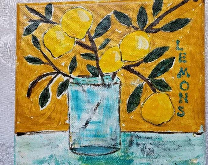"Mediterranean Flare "" Single Lemon Branch"" wall art /kitchen decor /  Original acrylic painting/6x6 canvas"