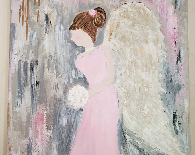 "Angel  Original  Acrylic Painting  ""Life's Walk""  - 18x24 Nursery Decor -wall art -angel art-Wall art  painting"