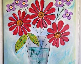 "Original Abstract Flower painting ""Mardi Gras""  / 18x24 Flower Still Life  / Nursery Wall Art/ Bright and Beautiful / Home decor wall art"