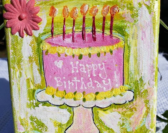 "Small Art ""Happy Birthday"" original acrylic CAKE painting / 4x4 handpainted canvas art /Tiered tray decor/includes display easel & shipping"