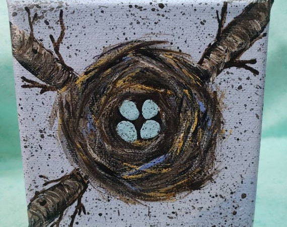 "NEST art "" Family of 4 "" original acrylic painting / 4x4 Small art / Gift Idea/ Tiered Tray Decor/ Family Art/ Pregnancy gift"