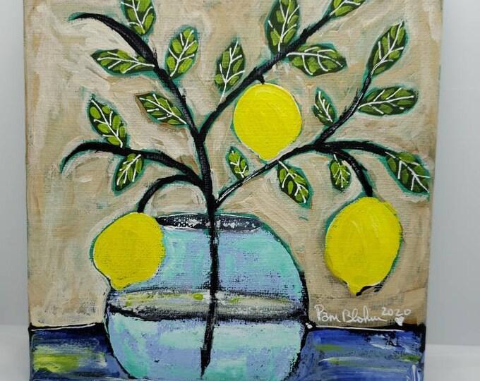 "Lemon Branch art / ""Just Hangin Out"" / Kitchen Decor wall art/6x6 Original Acrylic Painting by artist Pam Blohm"