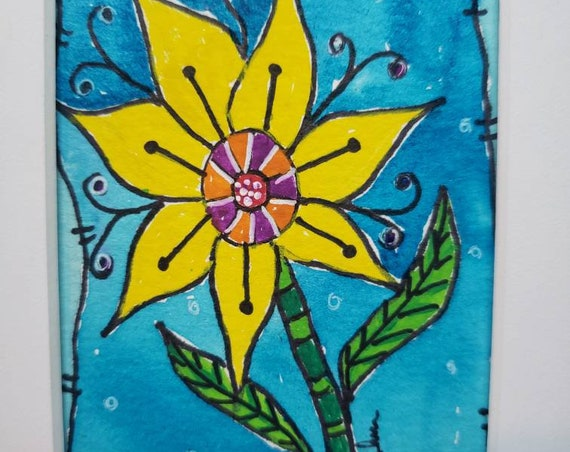 "Watercolor and ink ""Sunflower Yellow"" original painting/Whimsical Flower small art/ matted to 5x7 / Flower art"