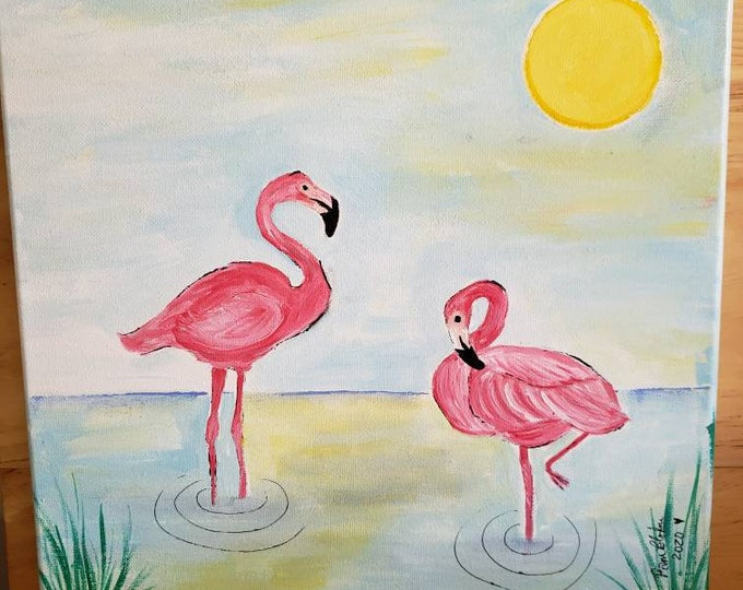 "Original Acrylic Painting ""Two Flamingos"" Tropical  Birds  / Bathroom or Home Decor - 12x12 Pink Bird art- Flamingo Wall art"