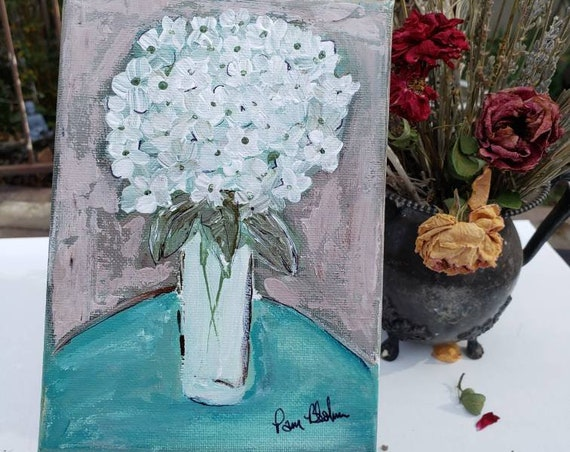 "Original acrylic painting ""Single Lady"" / 5x7 impressionist style Hydrangea Floral / flower wall art"