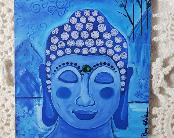 "Artist MAGNET  ""Blue Buddha on Retreat""  / Meditation small art/ gift idea / Bling Added"