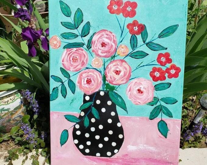 """Original  Abstract Flower Still Life   """"Summer Bouquet""""  - Nursery art- Acrylic Painting Flower artwork - 18x24 Large art"""