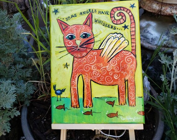 """Original Raw Folk Art Angel Cat / 9x12 Acrylic Painting / """"Some Angels have Whiskers"""" wall art"""