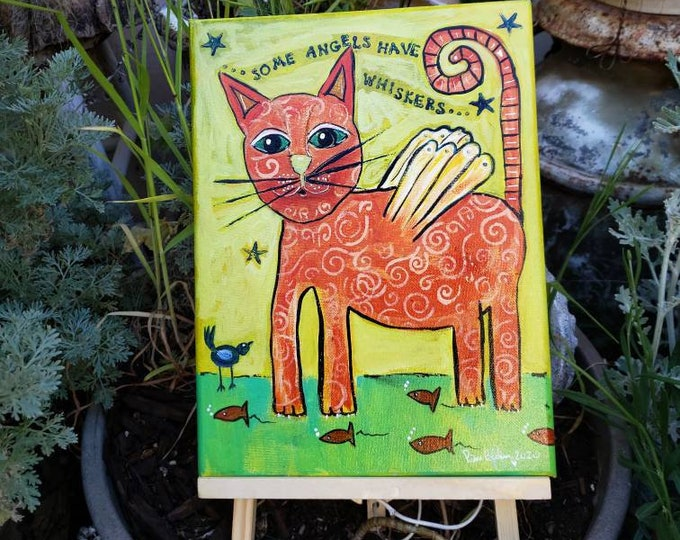 "Original Raw Folk Art Angel Cat / 9x12 Acrylic Painting / ""Some Angels have Whiskers"" wall art"
