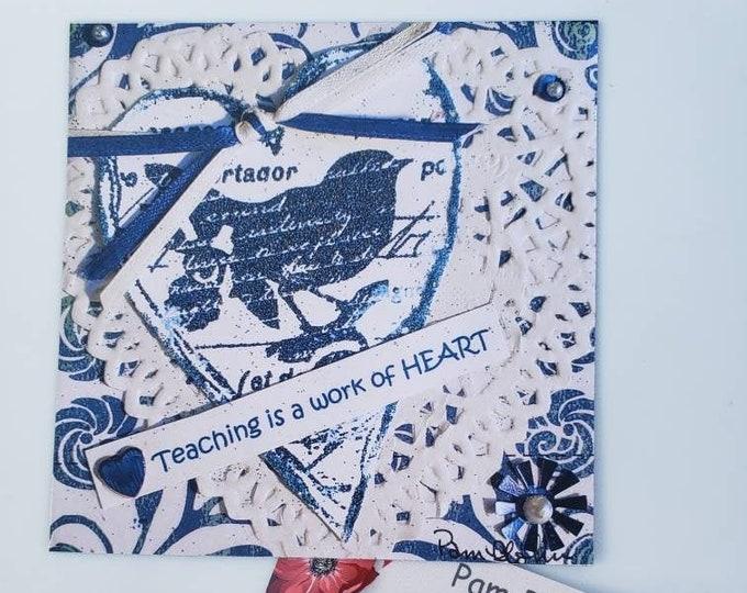 """Artist MAGNET """" Teaching is a work of Heart"""" from original mixed media art/ 3.75x3.75 """" Teacher Gift Idea"""