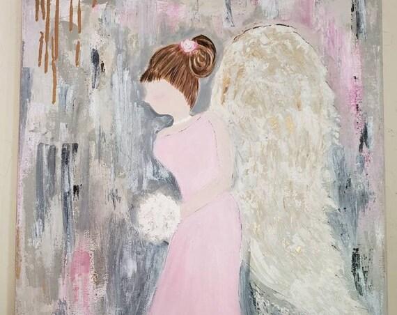 "Original Acrylic Painting/ Angel Artwork ""Life's Walk""  /18x24  Home Decor / Nursery Decor/ wall art /angel art/Wall art/ painting/ angel"