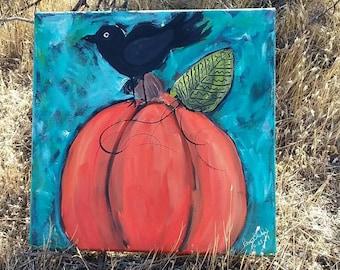 "Original acrylic ""The Perching Crow"" /Abstract Fall wall art/home decor/black bird/orange pumpkin/12×12"