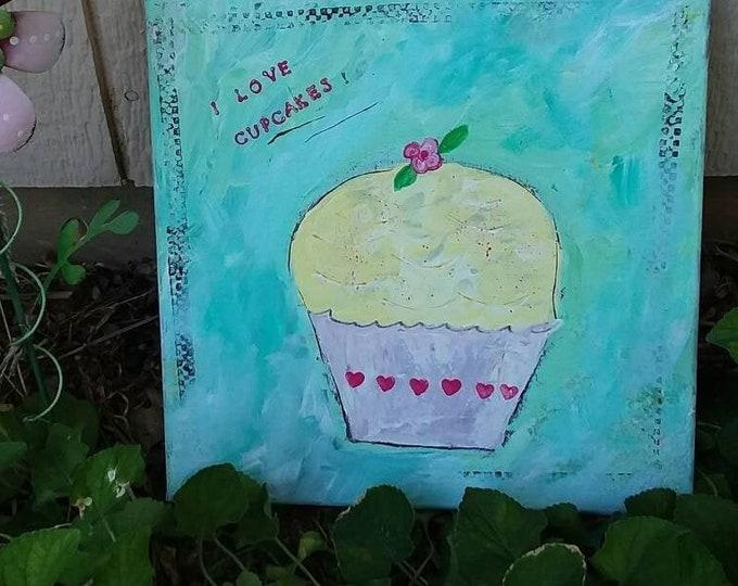 """Fun Food Art  """"I Love Cupcakes"""" Original Acrylic painting. Kitchen art/ 12x12 playroom art/cupcake shop art"""
