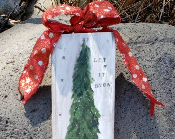 """Original """"Let it snow """" Christmas tree artwork for home, office, or porch -Rustic wood decor with wire bow."""
