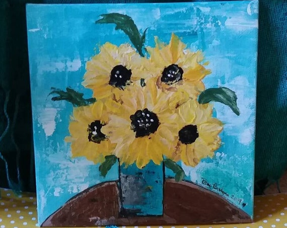 "Summertime  ""Yellow Sunflower Bouquet "" original acrylic painting/6x6 canvas panel/Home decor/floral art"