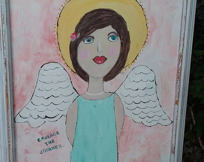 "FRAMED  Angel Art "" Embrace the Journey"" - 16x20 Original acrylic painting- Nursery Wall art -angel art home decor-BOHO nursery art"