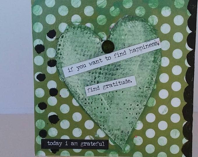 "Original ""Find Gratitude"" mixed medium artwork.  4x4 small art canvas/home or office decor/ Heart art/ cubicle art/ Gift idea"