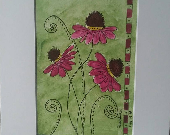 Watercolor & Ink / Abstract Cone flowers- Original / Matted 8x10. Home decor/wall art/original painting/floral art/abstract