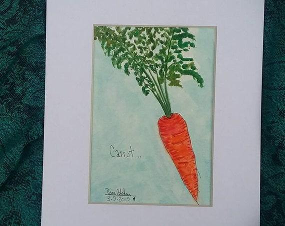 "Kitchen Vegetable Art  "" Orange ""Carrot"" / 8x10 white matted/Garden vegetable art/kitchen art/veggie art/free shipping/Original Watercolor"