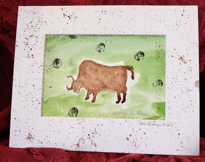 "8x10 watercolor original painting/ "" Anasazi Buffulo "" man cave decor / masculine art /travelers gift / western decor"