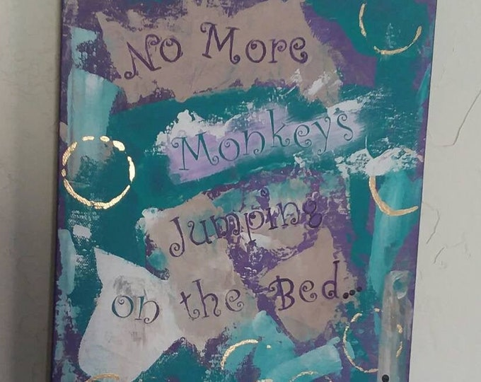 "Original Painting ""No More Monkeys Jumping on the Bed"" / 9x12 Childs Room Art /Purple -Teal / Abstract Art/ wall art"