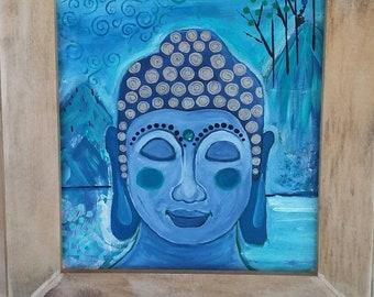 "Framed  ""Blue Buddha on Retreat""  Original  Acrylic Painting / 11x14 Canvas ART / Buddha Painting/Meditation /Buddhism/Tibetan"