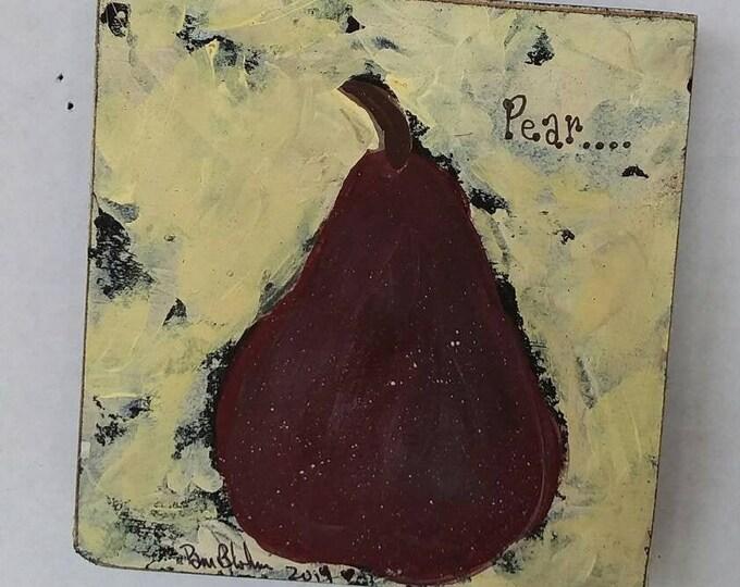 "Abstract ""The Burgandy PEAR""  original  fruit art / 4x4 birch wood / kitchen decor/wall art/abstract art/fruit painting/wall art/Pear art"