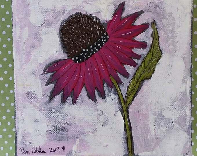 """Abstract floral original painting. """"Magenta Coneflower"""" .  6x6 deep stretched canvas / home decor/flower art/floral painting."""