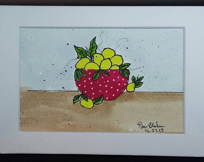 """Watercolor art """"Lemons in a Red Polka Dotted  Bowl"""" /kitchen art/lemon painting/Original watercolor & ink abstract / 5x7 white matted"""