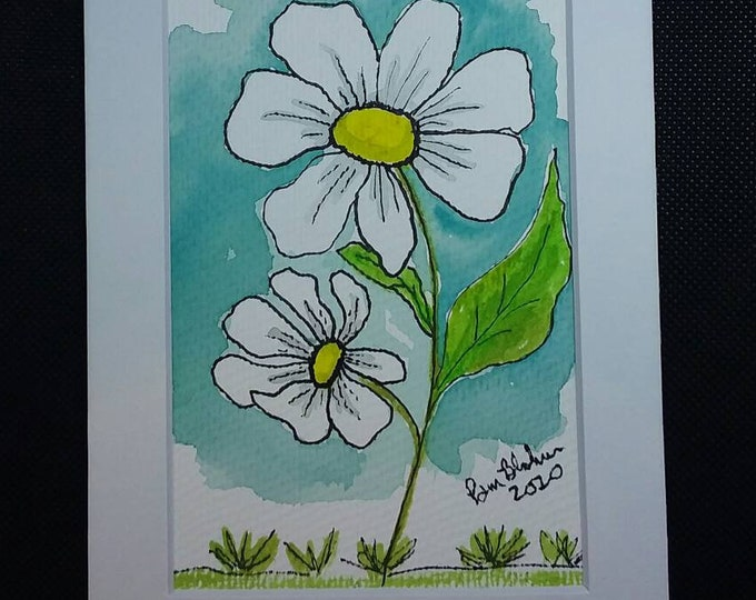 "Original Watercolor & Ink. ""White  Daisies"". White mat/5x7/wall art/office decor/Flower art/home art"