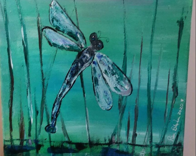 """Original acrylic painting / 9x12 Abstract """"Dragonfly on Reed""""  wall art/home decor"""