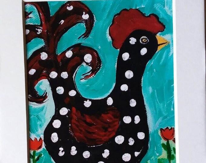 "Artist PRINT  ""LUCY"" - Whimsical Chicken - farm animal small art gift idea -Chicken art-Nursery Wall Art- polka dots"