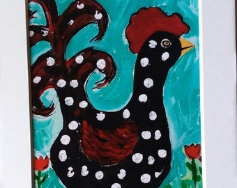 "5x7 Matted photography.  ""LUCY"" Chicken wall art/ kitchen art/ office decor/ polka dots"