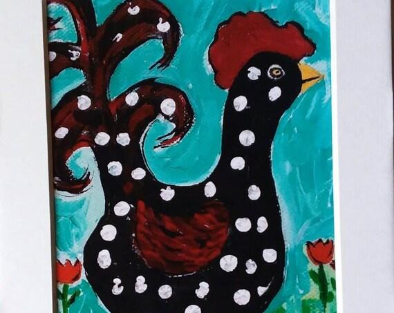 "Artist painting PRINT   ""LUCY"" Chicken wall art/ kitchen art/ office decor/ farm animal art/ Chicken art/Nursery Wall Art/  polka dots/5x7"