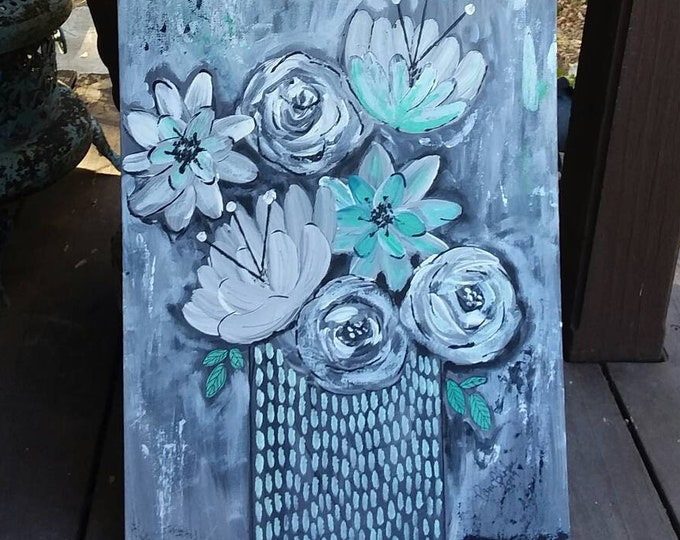 "Original 12x16  acrylic painting. ""More shades of Grey"" floral art/ flower art/ wall art/bedroom art/nursery decor/home decor"