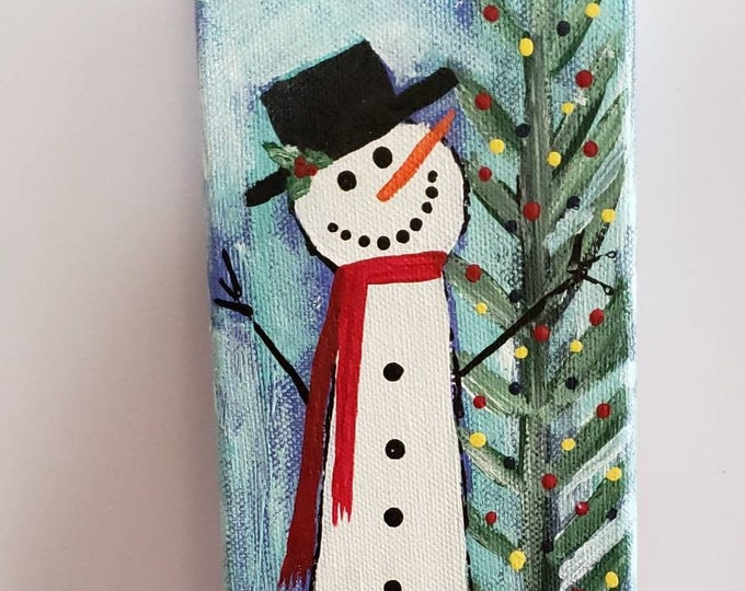 "Original design ""Jack Frost"" acrylic painting /  4x12 holiday decor /  Snowman art/holiday decor /Seasonal accent"