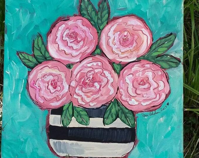 "Original  ""Blooming & Glitter"" Floral Wall art - 12x12 original acrylic art - Abstract Flowers -Home decor - Nursery Decor"